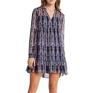 NWT BCBGeneration Tiered Feather Print Vneck Dress